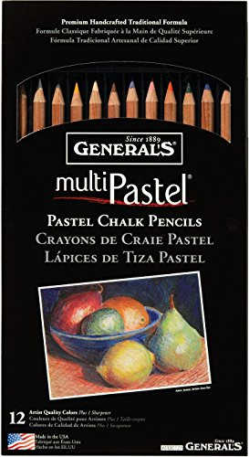 General Pencil 4400-12A Pastel Chalk Pencils, Assorted Colors, 12 Per (Pastel Pencil)