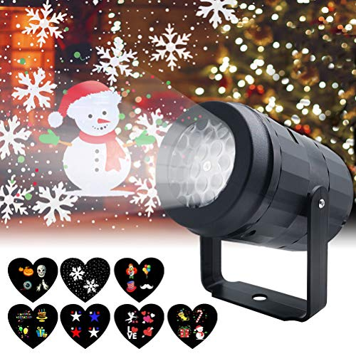 Christmas Projector Lights for Indoor, Rotating Snowflake LED Christmas Light with 7 Multicoloured Switchable Slides for Graduation Prom, Holiday, Halloween, Birthday, Valentine's, Easter, Party Decor (Indoor Lights Snowflake Christmas)