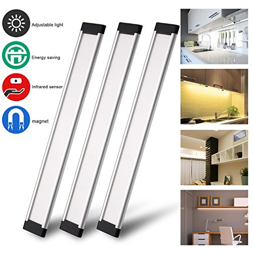 Zenic Portable LED Under Cabinet Lights Kits, 12V 1200 Lumens, 3 Pack Warm White Dimmable Motion Sensor Activated Light for Kitchen Counter, Closet, Shelf Lights (A-Warm White)