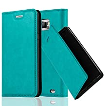 Cadorabo - Book Style Wallet with Stand Function for Samsung Galaxy S2 (i9100) with Card Slot and invisible Magnetic Closure - Etui Case Cover Protection in PETROL-TURQUOISE