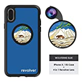 Ztylus Designer Revolver M Series Camera Kit: 4 in 1 Lens with Case for iPhone X/XS - Fisheye Lens, Wide Angle Lens, Macro Lens, CPL (Wolverine Blue)