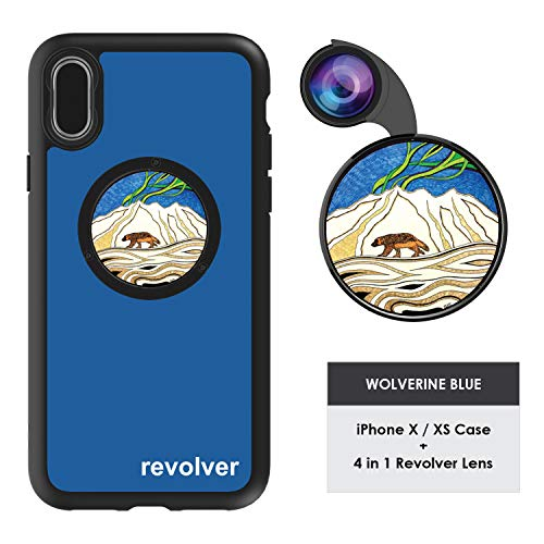 (Ztylus Designer Revolver M Series Camera Kit: 4 in 1 Lens with Case for iPhone X/XS - Fisheye Lens, Wide Angle Lens, Macro Lens, CPL (Wolverine Blue) )