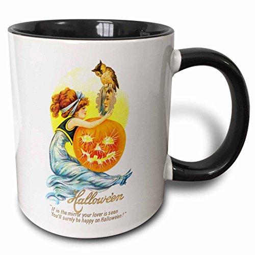3dRose 126088_4 Vintage Halloween Girl With A Jack O Lantern Pumpkin And An Owl Mug, 11 oz, Black]()