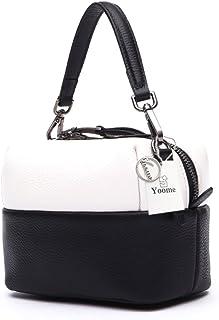 Yoome Crossbody Bag pour les femmes, sac à bandoulière en cuir véritable sac à main petit sac à main occasionnel seau sac de voyage couleur voyage sac à main pour les filles dames YooHY066-Grey.white