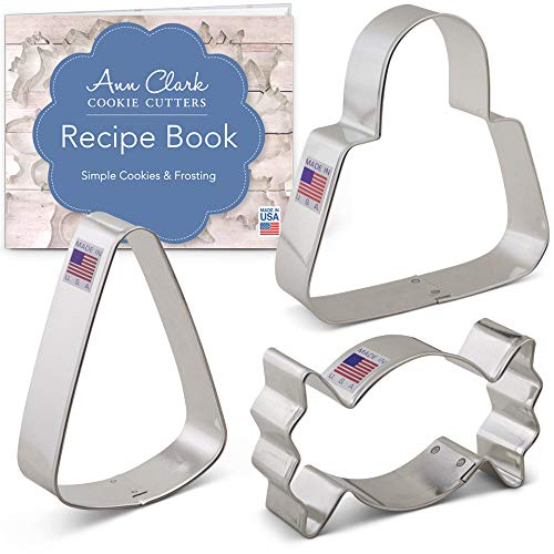 Trick or Treat Candy Cookie Cutter Set with Recipe Booklet - 3 piece - Candy, Candy Corn and Bag - Ann Clark - USA Made Steel ()