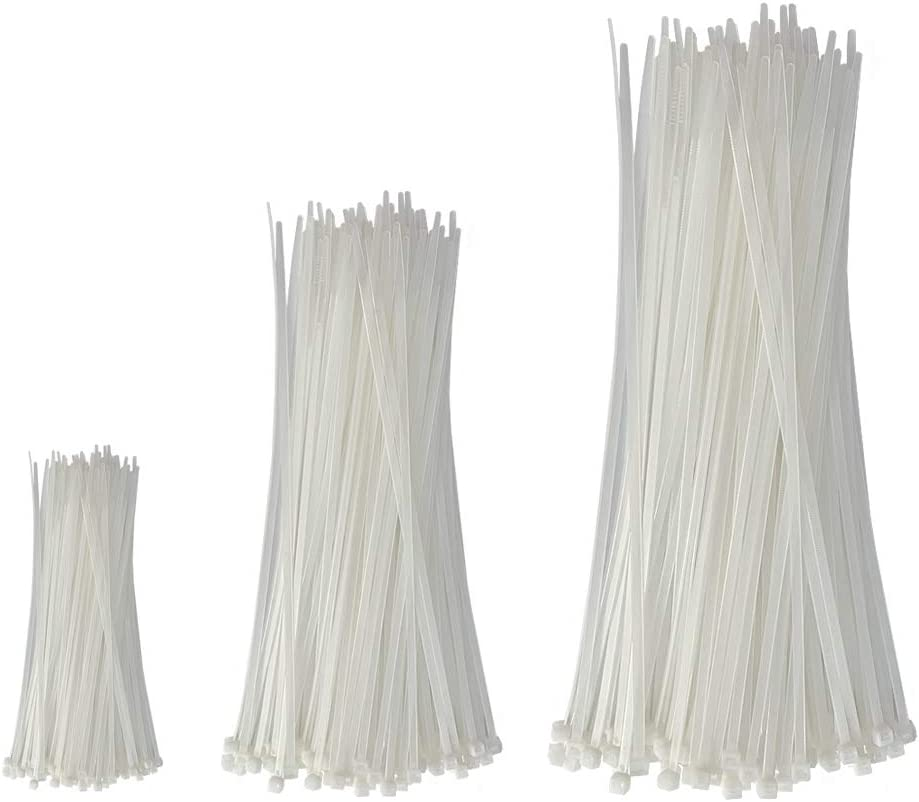 Heavy Duty Plastic Straps White 300 Pieces Weather and UV Resistant Cable Zip Ties Assorted Sizes 4//8//12 Inch Self Locking Nylon Wire Ties