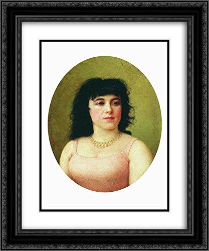 (Fyodor Bronnikov 2X Matted 20x24 Black Ornate Framed Art Print 'Portrait of an Italian Ballerina Virginia Zucchi')