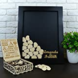 Wedding Guest Book Alternative Guest Book Black Wedding Gift Wedding Guest Book Wood Custom Guest Book Personalized 40x50 CM With 150 Pcs Wooden Hearts