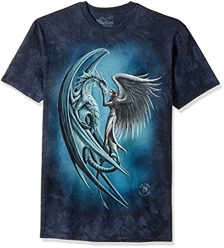 The Mountain Angel & Dragon Adult T-Shirt, Blue,