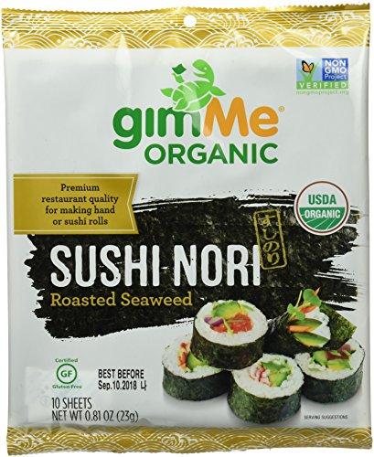 gimMe Snacks Organic Premium Roasted Seaweed Sushi Nori, 0.81 Ounce - 1 - Toasted Sushi Seaweed
