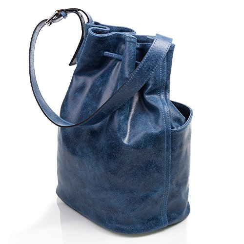 cm ARTEGIANI en en Vera pelle main Made FIRENZE authentique cuir Bleu 28x36x18 Sac Fermeture à femme cuir naturel ajustable cordon ITALY Sac à in FONCÉ italiana Couleur BLEU gxqfdX
