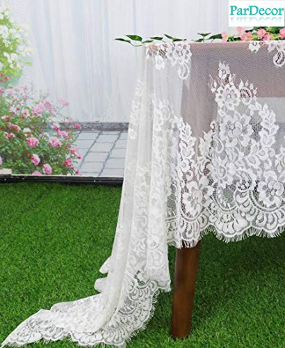 - Wedding White-Lace-Tablecloth 60x126-Inch White Lace Fabric Eyelash Chantilly Floral Birdal Wedding Dress Flower Lace Table Cloth DIY Craft Trim Applique Embroidered Tablecloth Linen