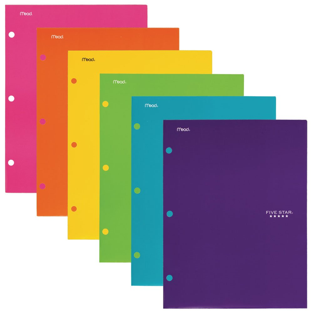 Five Star 4 Pocket Folders, Folders with Pockets, Colors Selected For You, 6 Pack (38202)