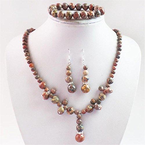 Teng Yu Fashion Leopard Skin Jasper Round Gemstone Beads Necklace Earrings Bracelet Set - Leopard Jasper Earrings