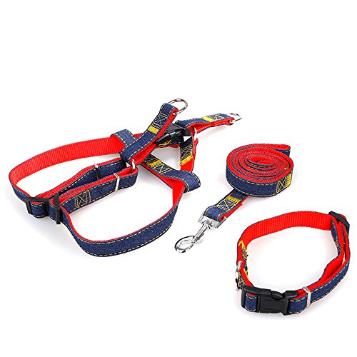 g Denim Leash Harness Set,Adjustable and Heavy Duty Durable for Training Walking Running,Dog Collar/Chest Straps for Pets (S, Red-Chest Straps+Collar) ()