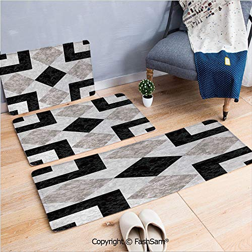 FashSam 3 Piece Flannel Bath Carpet Non Slip Nostalgic Marble Stone Mosaic Regular Design with Alluring Elements Image Front Door Mats Rugs for Home(W15.7xL23.6 by W19.6xL31.5 by W17.7xL53)