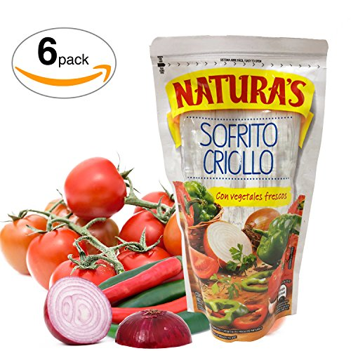 Naturas Sofrito Criollo. Salsita Lista De Tomate Con Chile, Cebolla y Cumino | Unique Flavor To Cooking | Ready To Use|No Preservative, No Artificial Colors| 100% Natural (227g, 8oz) 6 pack