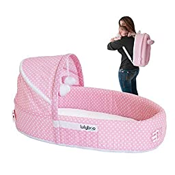 LulyBoo Baby Lounge To-Go Travel Bed in Pink Dots