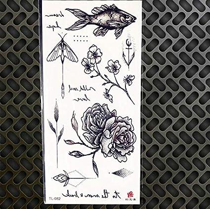 MRKAL Sexy Tatuaje Temporal Acuarela Dibujo Rosa Etiqueta engomada ...