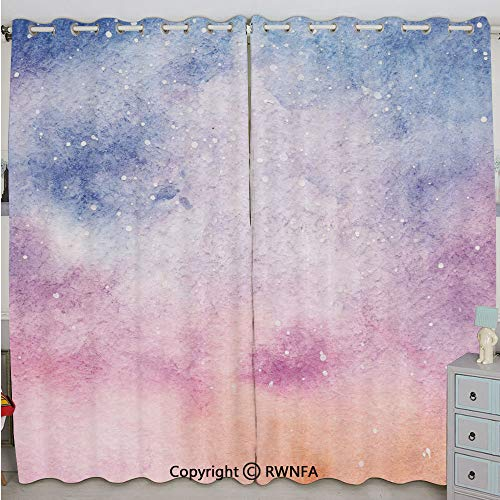 Justin Harve window Abstract Watercolors Artistic Fantasy Soft Nebula Universe Inspired Decorative Bedroom Blackout Curtains Set of 2 Panels(84