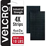 VELCRO Brand Heavy Duty Fasteners | 4x2 Inch Strips 4 Sets | Holds 10 lbs | Stick-On Adhesive Backed | Black Industrial Strength | For Indoor or Outdoor Use