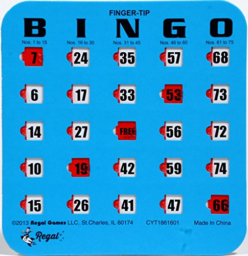 Regal Games 200 Blue Fingertip Shutter Slide Bingo Cards