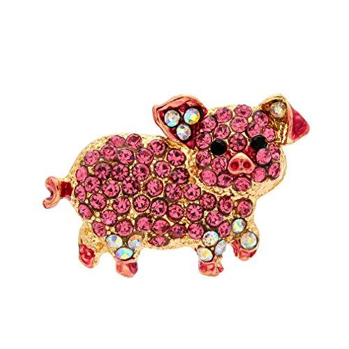 (Woogge Cute Pink Enamel&Crystal Rhinestone Pig Brooch)