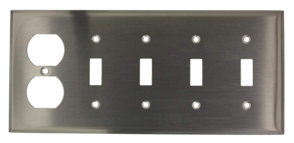 Leviton S48-N 5-Gang 4-Toggle, 1-Duplex Device Combination Wallplate, Device Mount, Stainless Steel