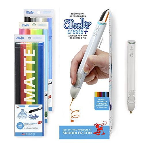 3Doodler Create+ 3D Printing Pen Set with 75 Filaments (600 ft. of Extruded...