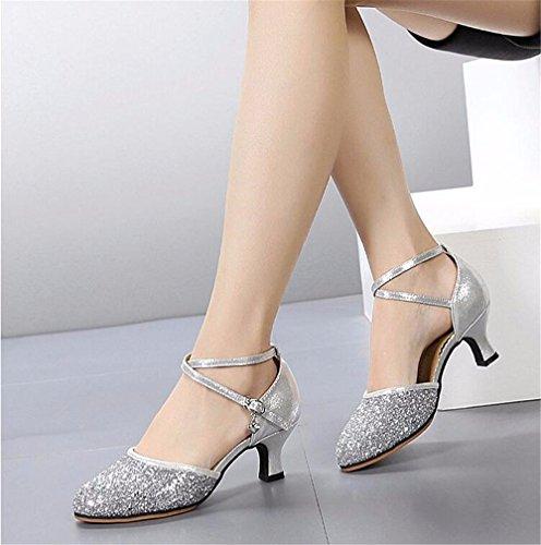 SQIAO-X- Scarpe da ballo in pelle sintetica e suola in gomma morbida a bassa amicizia Dance danza moderna ballo latino Professional scarpe da ballo, oro (3.5Cm fondo morbido ),36