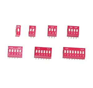 Haobase 35Pcs/Lot Dip Switch Kit in Box 1 2 3 4 5 6 8 Way 2.54mm Toggle Switch Red Snap Switches Kit(Each Value 5Pcs))