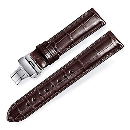 - Quick Release Alligator Grain Leather Replacement Watch Bands with Deployment Buckle for Men and Women 18mm/19mm/20mm/21mm/22mm/23mm/24mm