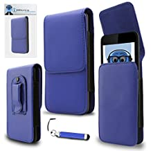 HTC ButterFly S Blue PU Leather Vertical Executive Side Pouch Case Cover Holster with Belt Loop Clip and Magnetic Closure and Re-Tractable Stylus Pen For HTC ButterFly S