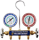 """Yellow Jacket 41312 Manifold Only with 2-1/2"""" Steel Case Gauges, psi, R-134A/404A/507"""