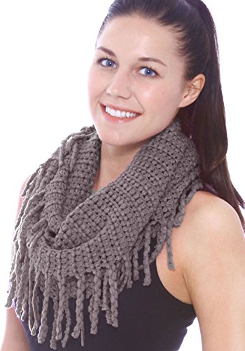 Long Knit Scarf Cable (Unisex Warm Infinity Circle Scarf Cable Knit Cowl Neck Long Loop Scarf Shawl, Dark grey)