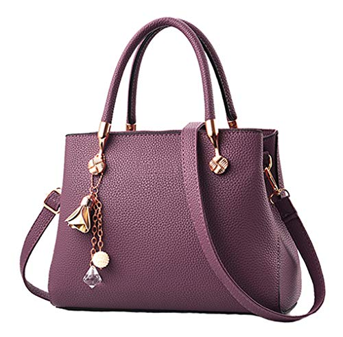 Handbags for Women Fashion Ladies Purses PU Leather Satchel Shoulder Tote Bags (Purple) ()