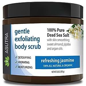 "Best ORGANIC Exfoliating Body Scrub - ""REFRESHING JASMINE"" - 100% Pure Dead Sea Salt Scrub / Ultra Hydrating & Moisturizing with SKIN SMOOTHING Jojoba, Sweet Almond & Argan Oils - 12oz"