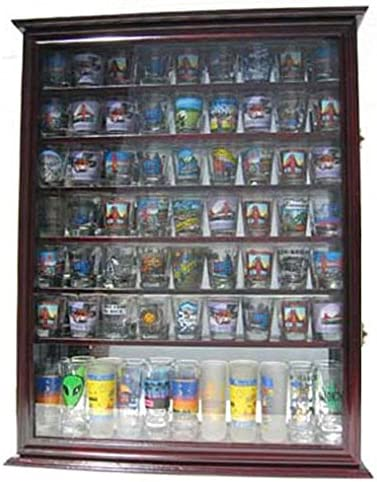Large 72 Shot Glass Display Case Cabinet Rack Holder-Mirror Back Cherry Finish