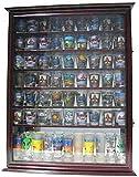 Large 72 Shot Glass Display Case Cabinet Rack Holder-Glass Door, Mirror Back - Cherry Finish