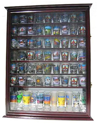 - Large 72 Shot Glass Display Case Cabinet Rack Holder-Mirror Back (Cherry Finish)