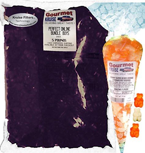 Albanese Purple Grape Gummi Bears 5LB Bag With Energy Orange And White Strawberry Banana Gummy Bears Gourmet Kruise Signature Gift Bag 11 OZ (NET WT 5 LBS.11OZ) 2 Item Bundle