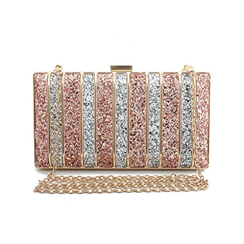Panelled Sequin Clutch Purse Rhinestones Evening Bag For Women Bridesmaid Chain Bags Pink