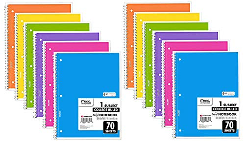 Mead Spiral Notebook, 12 Pack of 1-Subject College Ruled Spiral Bound Notebooks, Cute school Notebooks Pantone Colors, 70 Pages (Best Spiral Bound Notebook)