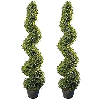 4' Artificial Topiary Spiral Boxwood Trees (Set of 2) by Seven Oaks | Highly Realistic Potted Decorative Buxus Shrubs | Fake Plastic Plants for Home / Garden | Indoor & Outdoor Use | UV Protected