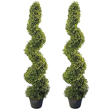 Amazon.com - 4\' Artificial Topiary Spiral Boxwood Trees (Set of 2 ...