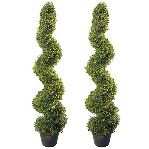 4' Artificial Topiary Spiral Boxwood Trees (Set of 2) by Seven Oaks | Highly Realistic Potted Decorative Buxus Shrubs | Fake Plastic Plants for Home / Garden | Indoor & Outdoor Use | UV Protected - Long Stem Topiary