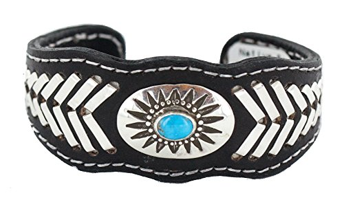 - Rare $400 Retail Tag Authentic Silver Handmade Navajo Natural Turquoise Native American Leather Bracelet