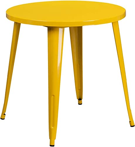 Flash Furniture Commercial Grade 30″ Round Yellow Metal Indoor-Outdoor Table