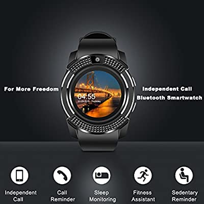 Smart Watch,Bluetooth Smartwatch Touch Screen Wrist Watch with Camera/SIM  Card Slot,Waterproof Phone Smart Watch Sports Fitness Tracker for Android