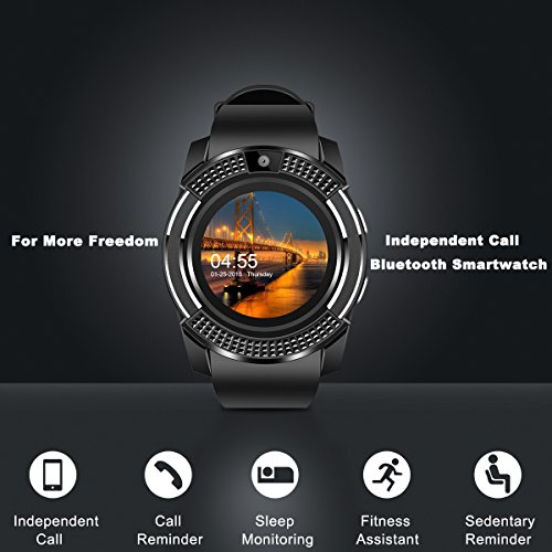 Smart Watch,Bluetooth Smartwatch Touch Screen Wrist Watch with Camera/SIM Card Slot,Waterproof Phone Smart Watch Sports Fitness Tracker for Android iPhone IOS Phones Samsung Huawei for Kids Women Men by Topffy (Image #1)